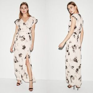 Express Dresses - Express Floral Rolled Sleeve Surplice Maxi Dress